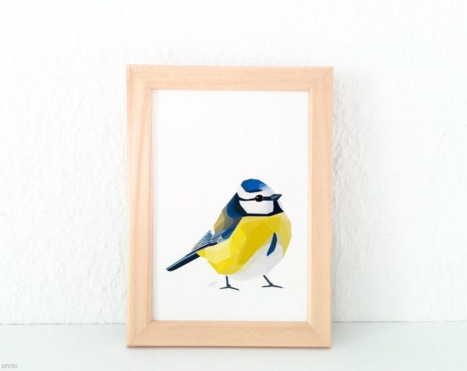 ON SALE Blue tit art, Modern bird art, Blue tit illustration, Cute bird decor, Art for the lounge, Bird lovers, Bird art, Common bird art