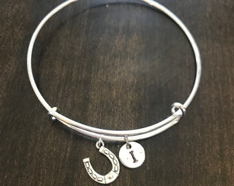 good luck horse shoe Initial Bracelet, Initial Bracelet, Charm Bracelet, horse shoe Bracelet,gift for cowgirl, Good luck Jewelry EA34