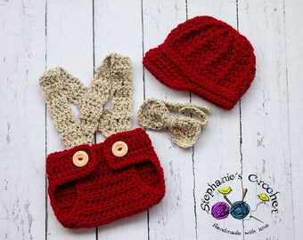 Crochet Newborn boy hat newsboy hat set with bow tie and diaper cover red/oatmeal photo prop infant boy hat brim hat-MADE TO ORDER