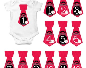 Cincinnati reds baby etsy gift set of 12 tie shape monthly milestones stickers with cincinnati ohio reds with mustache baseball negle Image collections