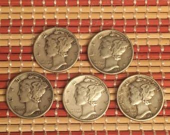 5pcs Mercury Dimes
