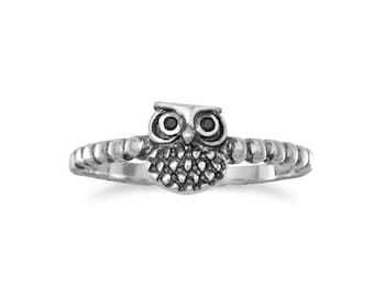 Oxidized Small Owl Ring Sterling silver