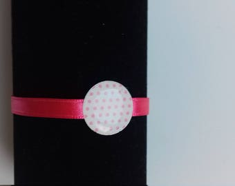 Beaded white coin dots pink