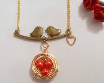 Wirewrapped  Bird's Nest With Love Birds Necklace - other colors available