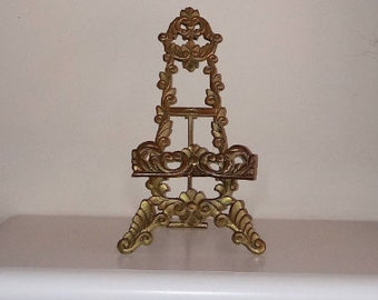 Large Brass Plate Holder - Plate Stand - Brass Easel - Art Easel - Fold Down Easel - Photo Holder - Vintage