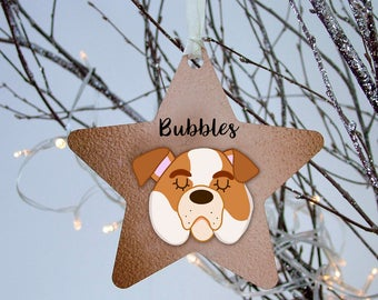 Bulldog Christmas Decoration Copper Printed