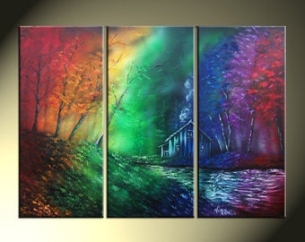 Rainbow Landscape Cabin In The Woods Original Triptych 25x36