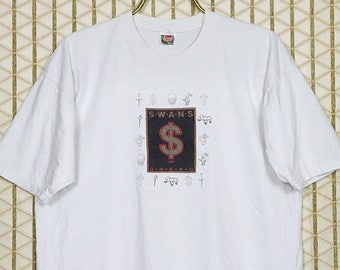 Swans vintage rare t-shirt, white tee, Greed, Holy Money, Michael Gira, Jarboe, No Wave, Sonic Youth