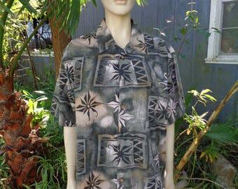VINTAGE 80s sunburst design ME Sport short sleeves Cotton mens beach shirt by jeansVintageCloset