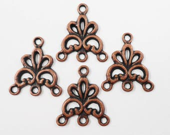 Copper Chandelier Earring Findings, Antique Copper 3 to 1 Connector Pendants, Connector Charms, Earring Connectors, Jewelry Findings 6pc