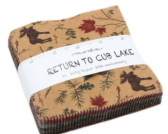 "Return to Cub Lake Flannel Charm Squares (42 - 5"" x 5"" Squares) designed by Holly Taylor for Moda Fabrics, Flannel"