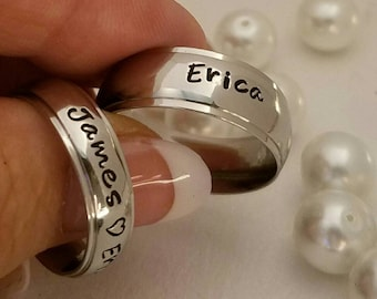 Set,Name rings, custom name rings, personalized name rings, hand stamped ring, Custom ring set, custom wedding bands, promise rings, His&Her