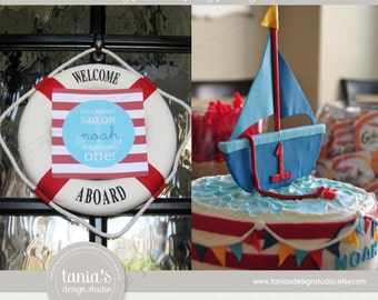 Sail Away Printable Birthday Party Package by tania's design studio