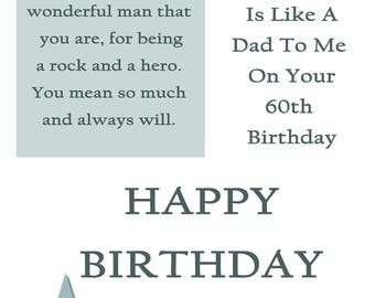 Like a Dad 60 Birthday Card with removable laminate
