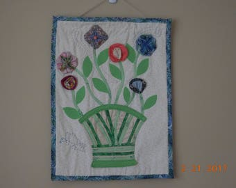 Fabric Origami Flowers Wall Hanging