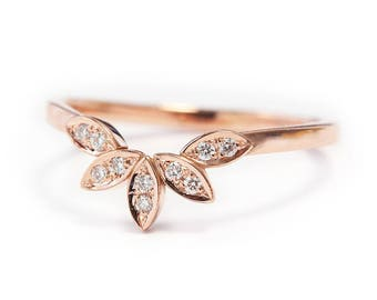 Unique Gold Ring, Leaves Side Band, 14K Rose Gold Ring, Gold Ring For Women, Unique diamond wedding ring, wedding side band, diamond ring,