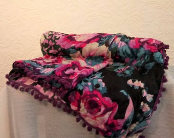Vintage Square Floral Scarf with Tiny Purple Pom-Pom Trim