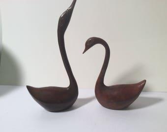 Pair of Vintage Metal Swans