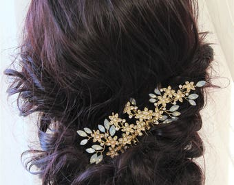 Gold Wedding Hair comb, Bridal Headpiece, Bridal Hair Comb, Opal Hair Comb ,Decorative Comb, Bridal Hair Accessories, UK