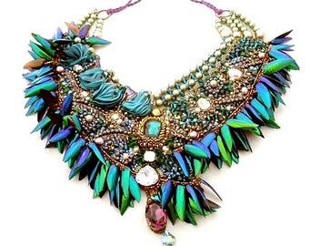 bronze  emerald statement necklace ,  beetle wings design , silk shibori swarovski crystal bib choker , bead embroidered high fashion collar