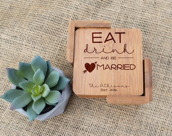 Eat Drink & Be Married Coasters, Custom Coasters, Personalized Coasters, Coaster set, Engraved, Wedding, Wedding Shower, Bridal Shower, Gift