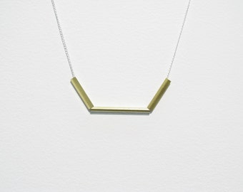 Simple, mimimalist brass & sterling silver necklace