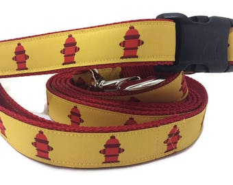 Dog Collar and Leash, Fire Hydrant, 6ft, 1 inch wide, adjustable, quick release, metal buckle, chain, martingale, hybrid, nylon