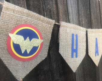 Wonder Woman banner, Happy birthday banner, superhero, girls, birthday