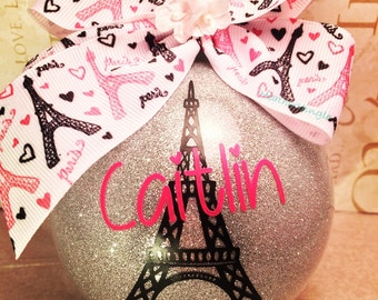 Large Glass Ornament Paris Theme Customized