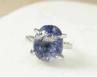Gold Blue Dumortierite Ring - Rare Dumortierite Ring - Oval Dumortierite