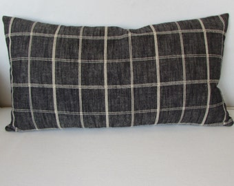 12x20 lumbar bolster decorative pillow with insert charcoal black plaid