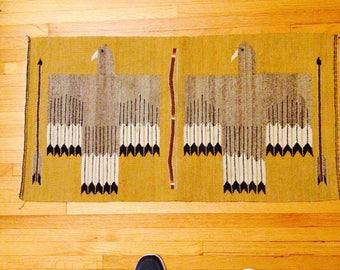 Double eagle navajo rug, vintage navajo rug, two eagles navajo rug, southwestern rug, eagle rug, bow and arrow rug, Native American rug