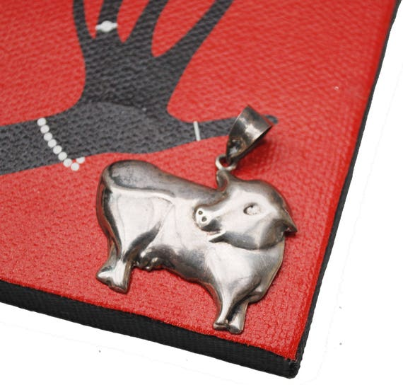 Sterling Cow Pendant - Silver farm animal  figurine  Bull pendants