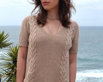 INSTANT DOWNLOAD PDF Knitting Pattern for Women's Lace Sweater Top Tee Jumper Pullover with Cables
