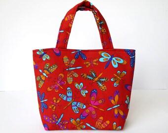 Girl's Bag, Mini Tote Bag, Kids Bag, Handbag for Girls, Red Butterfly Fabric, Bright Colourful Bag, Childrens Bag, Gift for Girls,
