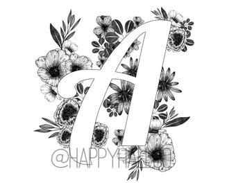 "Black and white floral letter, ""A"", digital print, modern inked design"
