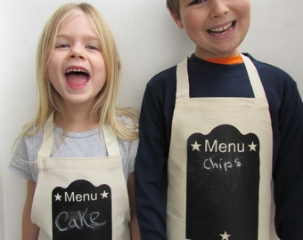 Kids Cooking Apron|chalkboard print|blackboard print|childs apron|toddler apron|dad gift|cooing gift|chef gift|christmas gift