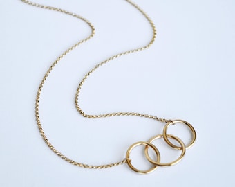 Interlocking Circles Necklace, Interlocking Rings, Mom Necklace, Friendship Necklace, Love Necklace, Family Necklace, Gold, Sterling Silver