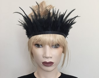 Black tribal bohemian boho festival feather crown headdress