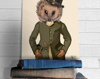 Hedgehog Rider, Portrait - hedgehog gift Hedgehog print Digital Print Poster Hedgehog art Riding Art equestrian decor equestrian gifts hat