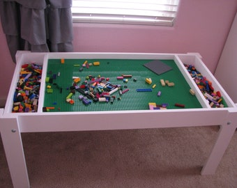 Kids activity table with storage, Building bricks table,  Building blocks table, kids table, compatible with Lego® table bricks, train table