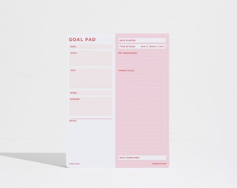 Goal Pad, day planner, Daily Planner Notepad, To do list notepad, to do list, daily planner, weekly planner, day planner - Pink / Red