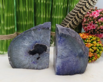 Agate Book End - Purple Dyed Half Geode Druzy Bookend Rock Formation - Lovely Bookend (BD4-10)