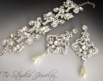 Cuff Bridal Bracelet and Pearl Chandelier Bridal Earrings Set - DENISE