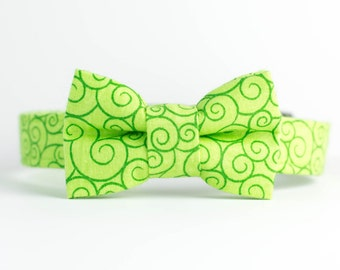 Saint Patrick's Day Spring Dog Collar with Bowtie - Lime Green Swirl