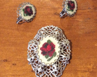 Petit Point Brooch and Clip on Earrings Set Silvertone
