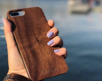 OXSY Walnut Wood Case | Genuine Apple iPhone 7+ | Real Wood | Solid Wood iPhone 7+ cover | New wooden case | Walnut wood cover | Gift Idea