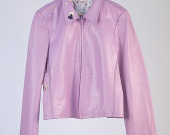 Leather Jacket 80 ' Armani style, pink leather details all hand-embroidered.-Cod D42