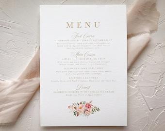 Wedding Decor Menu Card | Elegant Blush Gold Wedding