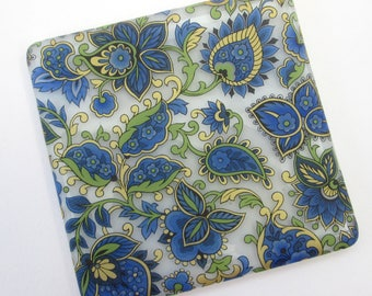 Blue gold Paisley coaster, handmade glass coaster, Paisley mug mat, blue wine glass coaster, wine lover, new home gifts
